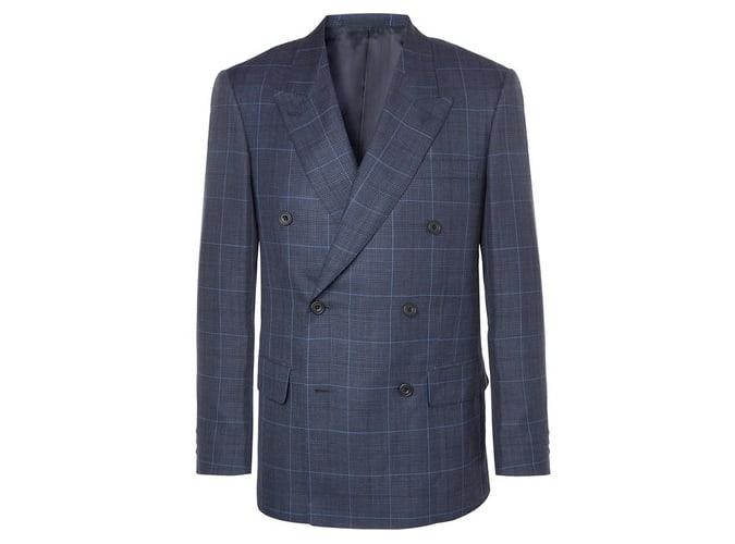 KINGSMAN Veste de costume à carreaux croisée en laine, soie et lin mélangés bleu marine Harry's