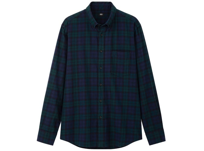 Uniqlo MEN FLANNEL REGULAR FIT CHECKED SHIRT BUTTON-DOWN COLLAR
