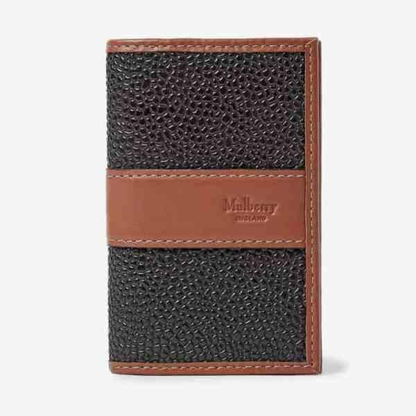 MULBERRY Porte-cartes en toile enduite à grain grainé et cuir
