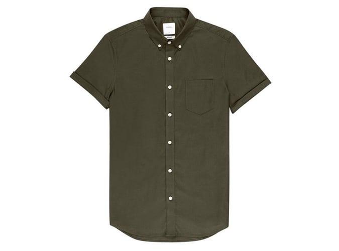 Chemise oxford à manches courtes et coupe kaki