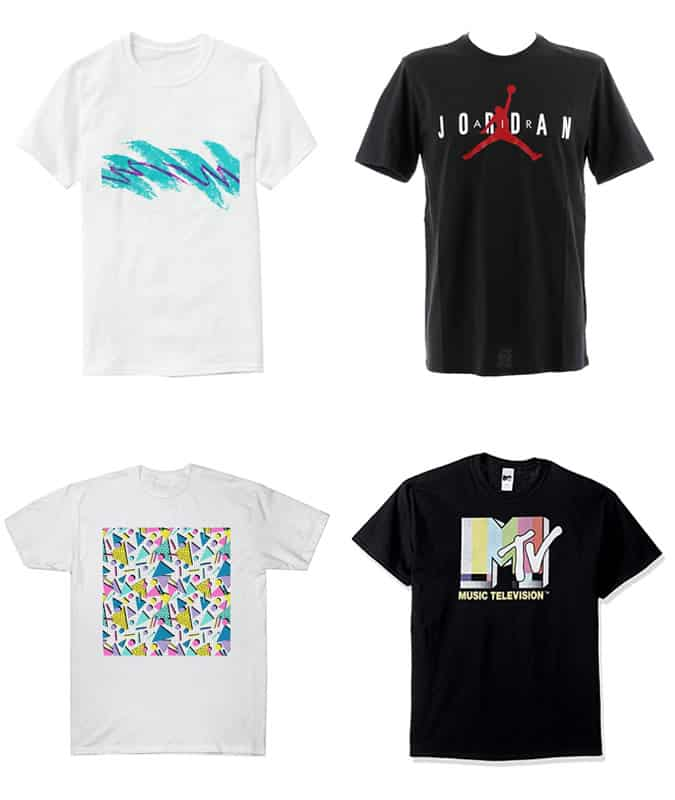 Retro t-shirts from the 80s and 90s