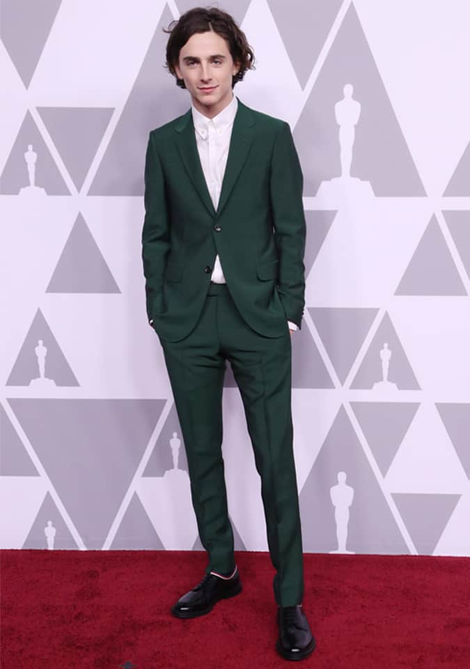 Timothée Chalamet in Green Suit