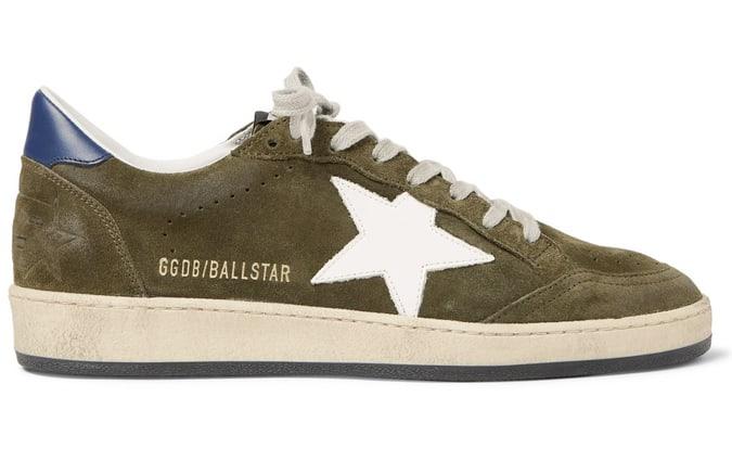GOLDEN GOOSE Sneakers Ball Star en daim et cuir vieilli