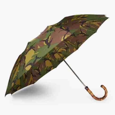 LONDON UNDERCOVER Parapluie télescopique à manche en bois imprimé camouflage