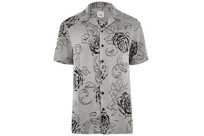 Chemise grise à imprimé fleuri