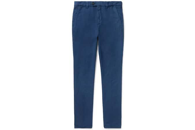 BRUNELLO CUCINELLI Pantalon fuselé en lin et coton mélangés bleu marine