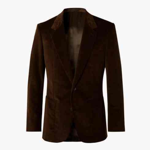 EXCLUSIVE KINGSMAN Veste de costume en velours côtelé mélangé de coton marron