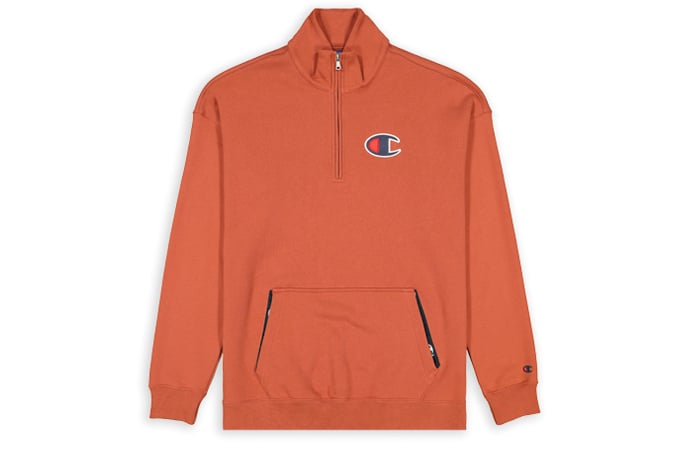 Half Zip-Up Suede C Oversize Sweatshirt