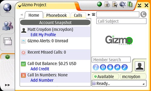 Gizmo Project on Nokia 770
