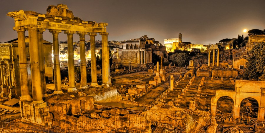 The Ancient Roman Forum at Midnight