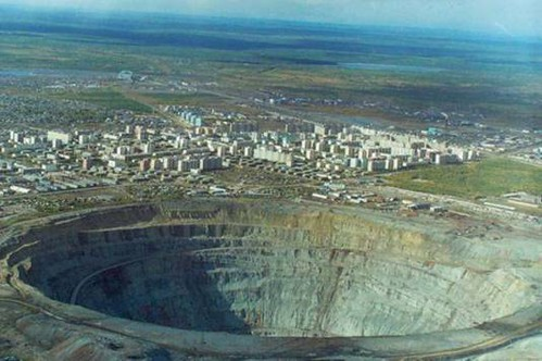 Diamond Mine in Siberia. One of the largest man-made holes in the world.