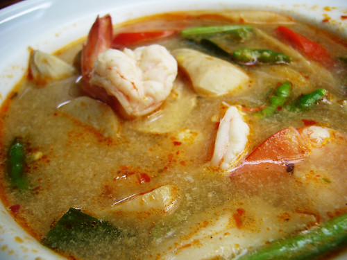 Tom yam soup with river prawns
