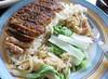 pork, rice, mushrooms, vegetables