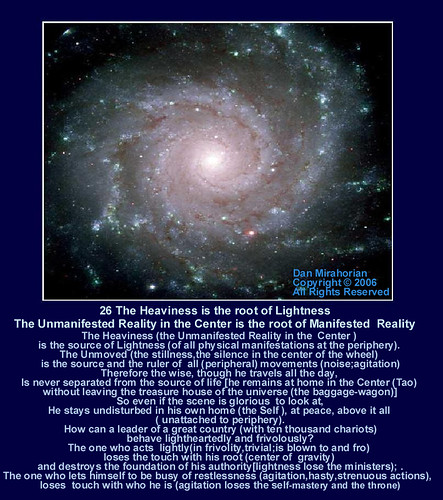 The Heaviness is the root of Lightness-The Unmanifested Reality in the Center is the root of Manifested  Reality