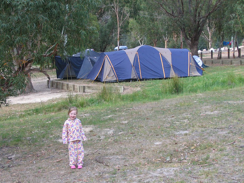 Bella with our tent first in the background