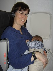 Mummy with Nicholas on his first flight