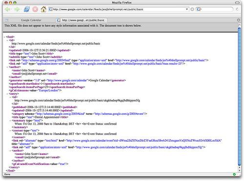 Calendar XML Feed