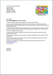 Kids Card Media Kit Letter