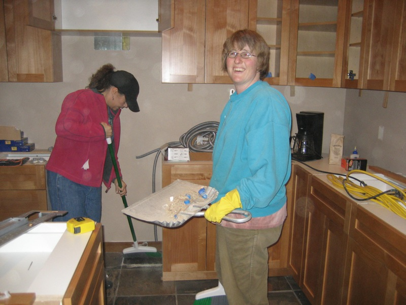 Bliss and Bridged working in the Kitchen