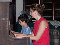 Malachi learning to play piano