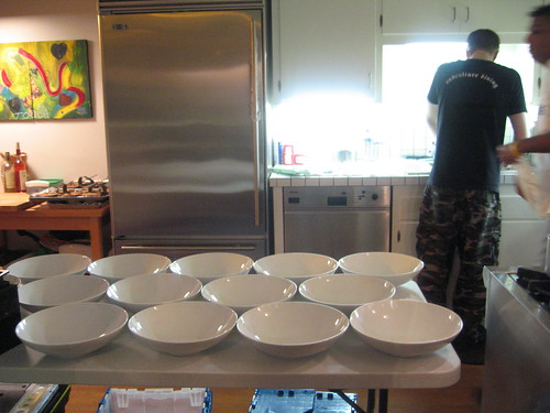 Dissident Chef--kitchen view.  soup bowls lined up.