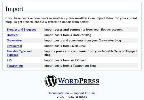 importation dans WordPress