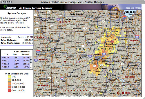 Ameren UE outage map - 500,000+ customers without power