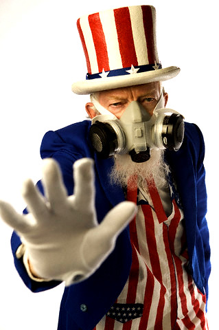 Uncle Sam and gas mask