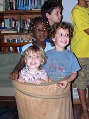 Three kids in a sack!