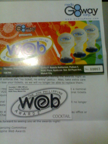 Philippine Web Award Ticket and Letter