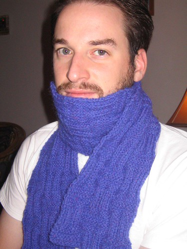 Wyl, in the scarf that I knit him!