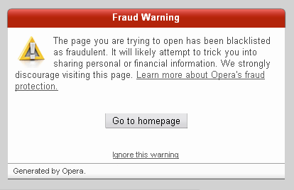 Opera Fraud Protection