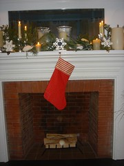 stocking hanging by fireplace