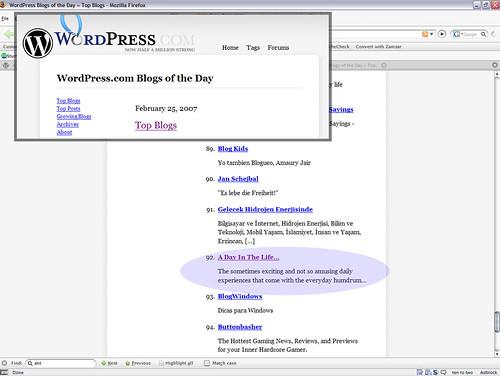 Top Blogs - Feb 25 2007 (WordPress)