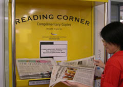 Singapore Polytechnic Library newspaper reading corner