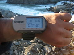 Picture of Garmin GPS unit on my wrist