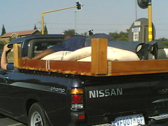 Hanging onto a bed ... while driving 1