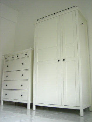 the finished wardrobe and drawers