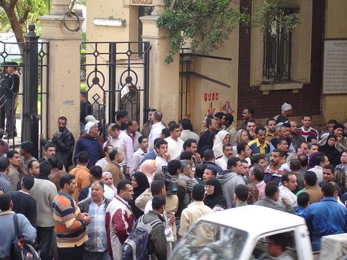 Moretadah Mansour's fans outside Al-Agouza hospital