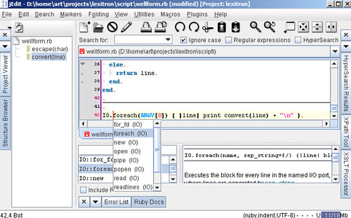 Ruby Editor Plugin screenshot