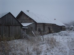 . . . another Latvian hut covered in snow.