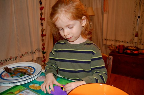 Kidlet crafting with Perler Beads (by jeninmaine)