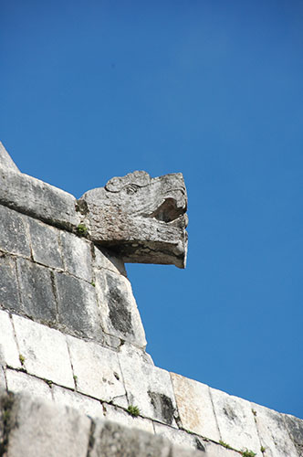 Chichen Itza - 05 - Feathered Serpent head on temple of Jaguar