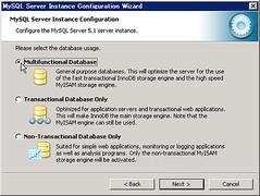 select database storage engine when install mysql