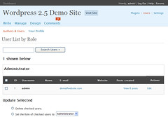WordPress 2.5 Users Screen