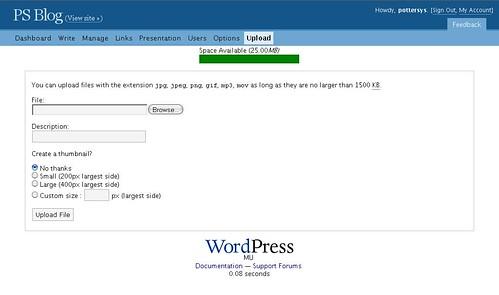 Upload Window [wordpress.com]