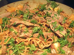 Steak with Wasabi Sauce and noodles