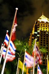 Thai flags at night