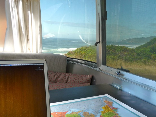 Catching up on emails along Highway 101