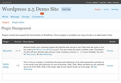 WordPress 2.5 Plugin Screen